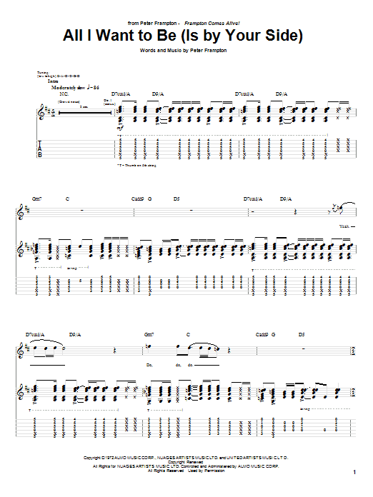 Peter Frampton All I Want To Be Is By Your Side Sheet Music