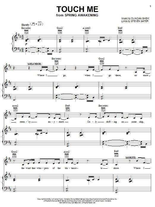 Duncan Sheik Touch Me Sheet Music Notes Chords Printable Rock