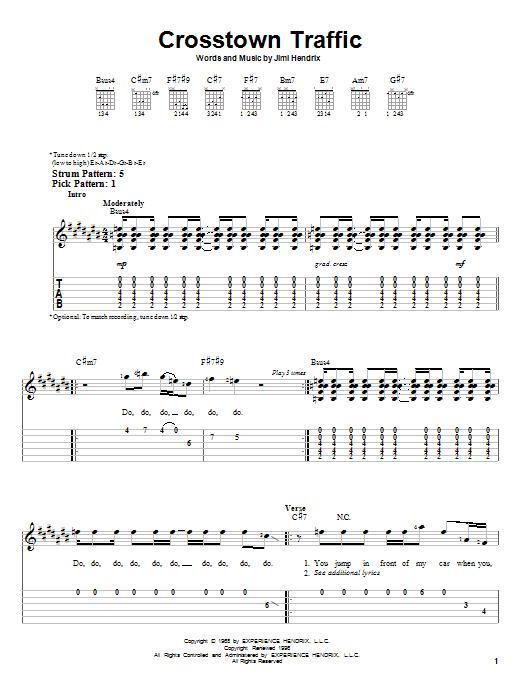 Jimi Hendrix Crosstown Traffic Sheet Music Notes Chords
