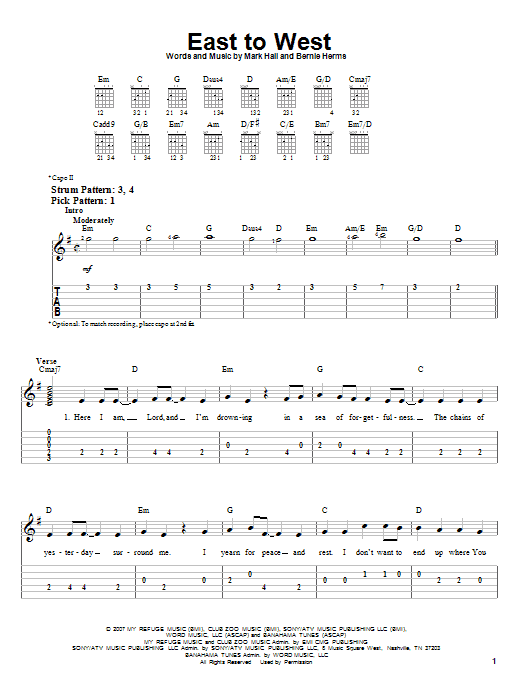 Casting Crowns East To West Sheet Music Notes Chords Printable