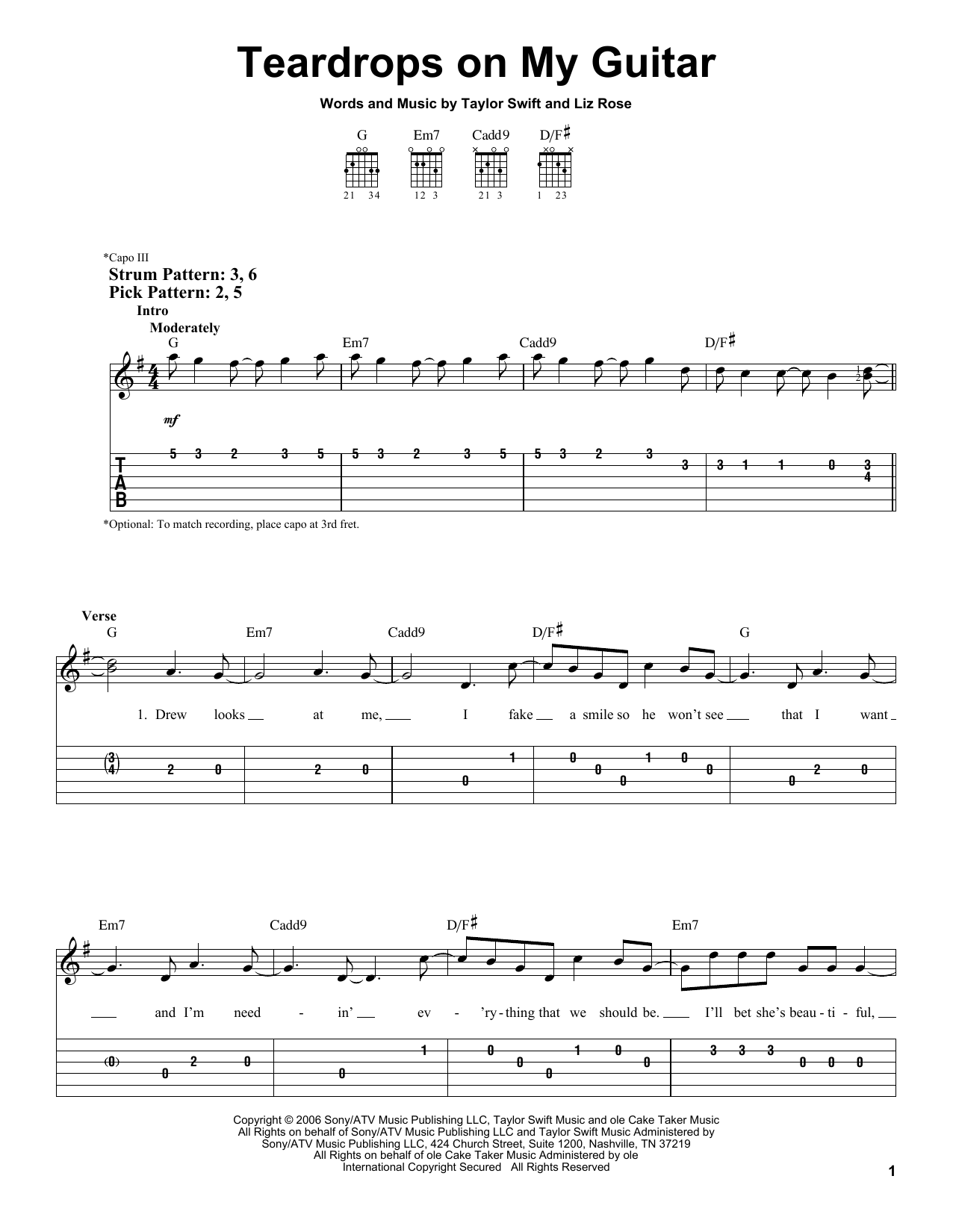 Taylor Swift Teardrops On My Guitar Sheet Music Notes Chords