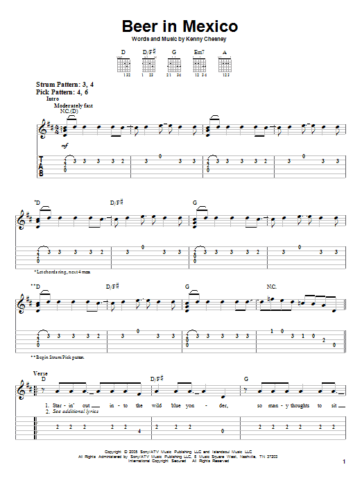 Kenny Chesney Beer In Mexico Sheet Music Notes Chords Printable