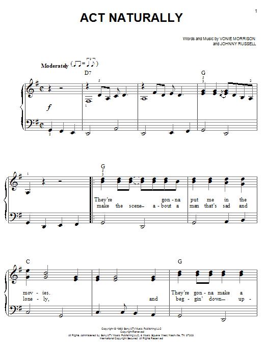 Buck Owens Act Naturally Sheet Music Notes Chords Printable