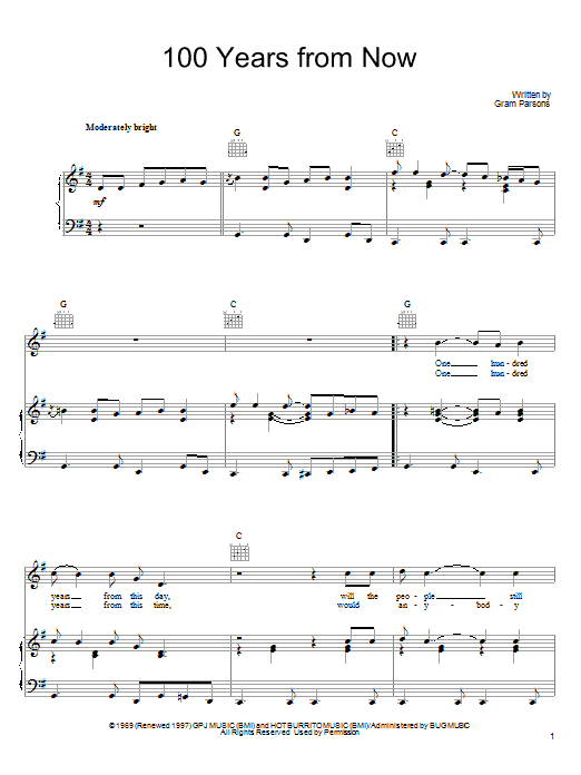 Gram Parsons 100 Years From Now Sheet Music Notes Chords