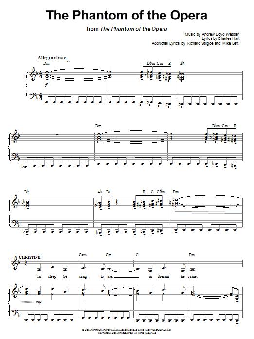 Andrew Lloyd Webber The Phantom Of The Opera Sheet Music Notes