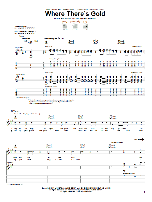 Dashboard Confessional Where Theres Gold Sheet Music Notes