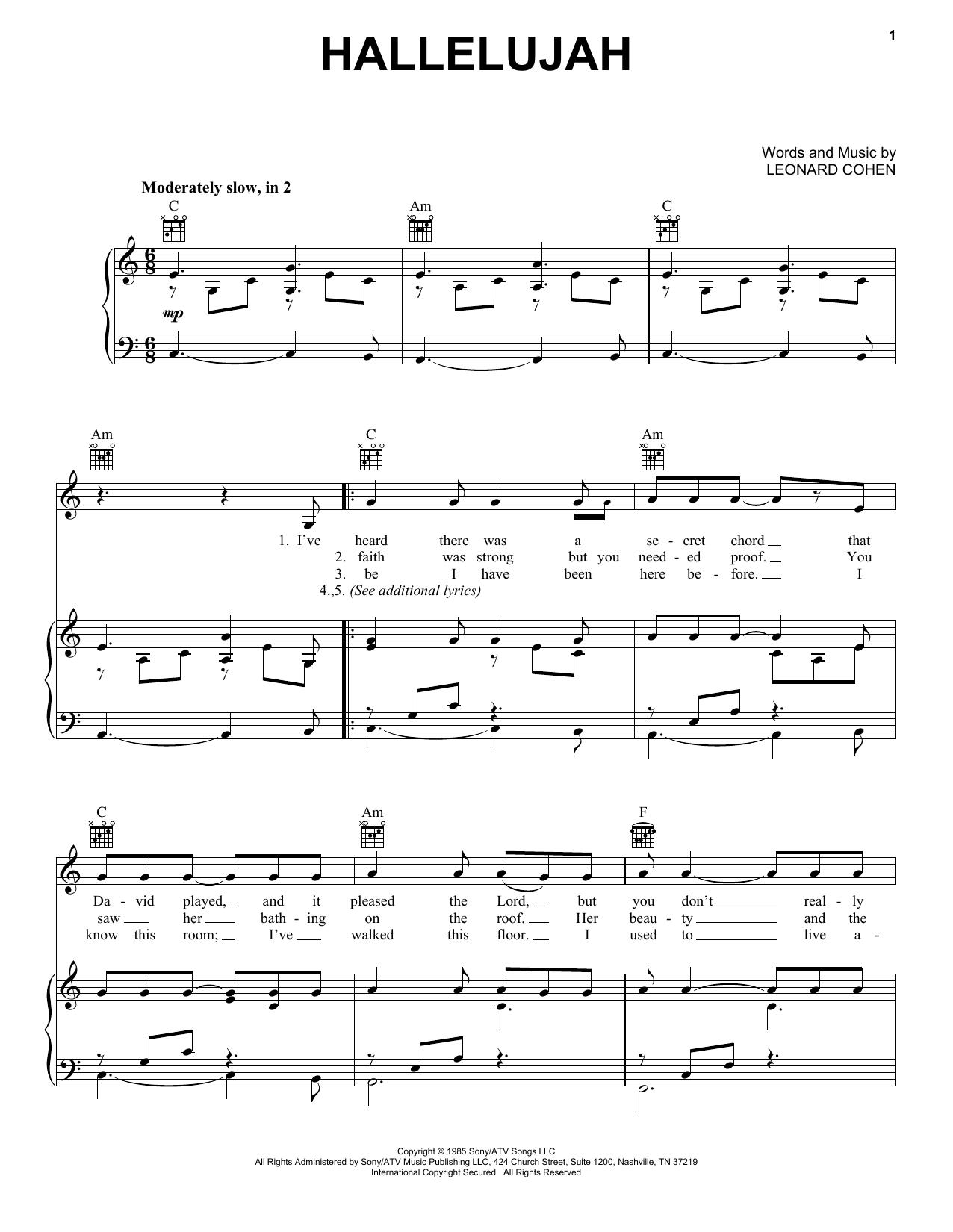 Kate Voegele Hallelujah Sheet Music Notes Chords Printable Folk