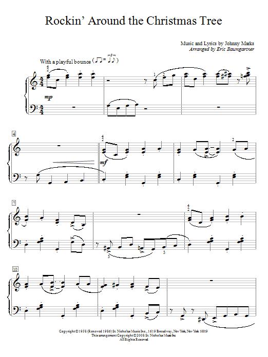 sheet music, piano notes, chords, guitar tabs, score, transpose, transcribe - Brenda Lee 'Rockin' Around The Christmas Tree' Sheet Music Notes, Chords  Download Printable Educational Piano - SKU: 66370