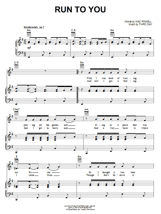 Third Day Run To You Sheet Music Notes Chords Printable Pop