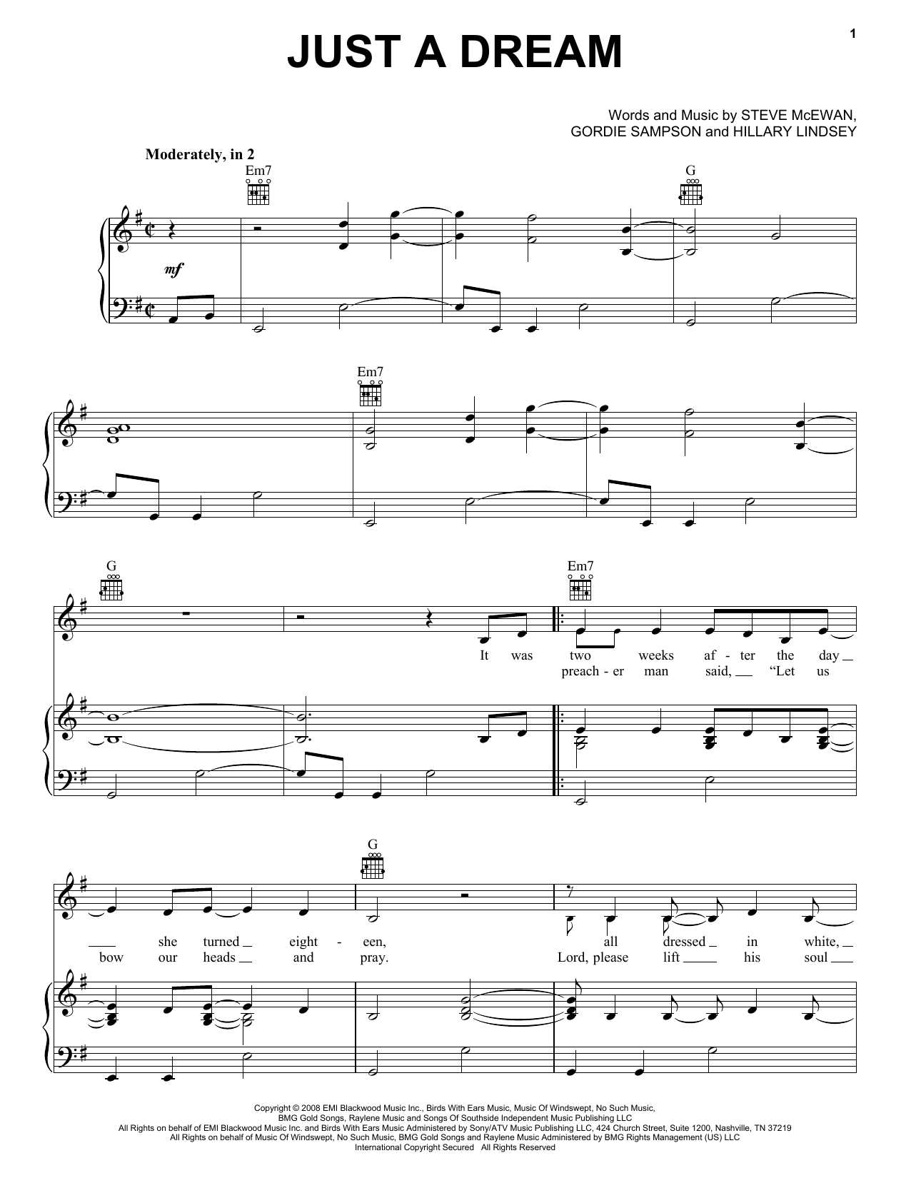 Carrie Underwood Just A Dream Sheet Music Notes Chords