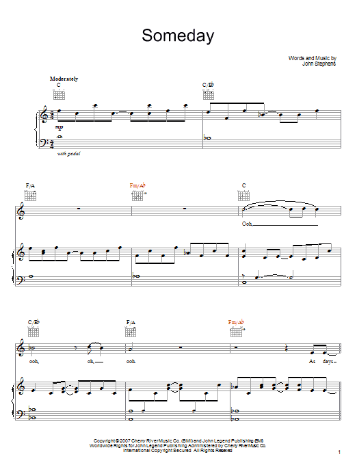 John Legend Someday Sheet Music Notes Chords Printable Pop