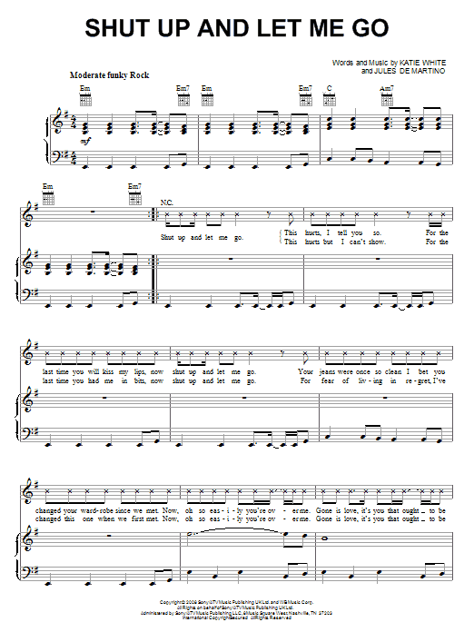 The Ting Tings Shut Up And Let Me Go Sheet Music Notes Chords