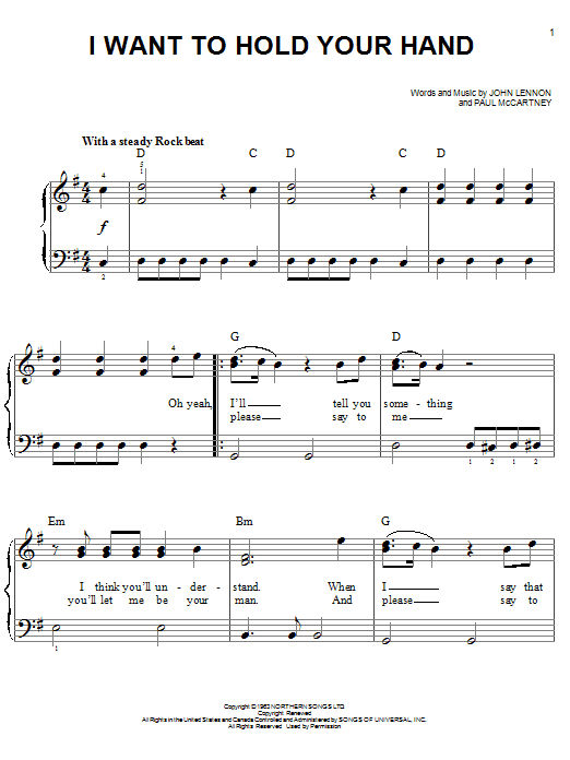 The Beatles I Want To Hold Your Hand Sheet Music Notes Chords