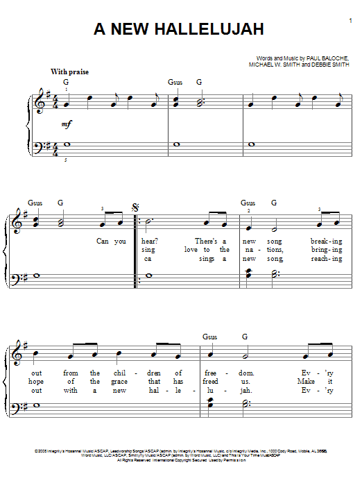 image about Hallelujah Piano Sheet Music Free Printable referred to as Michael W. Smith A Clean Hallelujah Sheet New music Notes, Chords Down load Printable Straightforward Piano - SKU: 68364