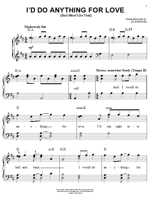 """How to play """"i'd do anything for love"""" by meat loaf 