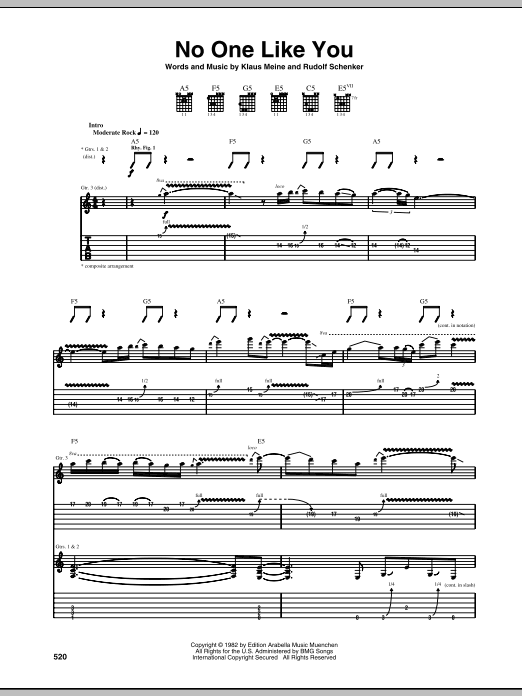 Scorpions No One Like You Sheet Music Notes Chords Printable