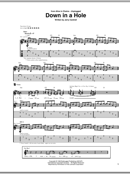 Alice In Chains Down In A Hole Sheet Music Notes Chords