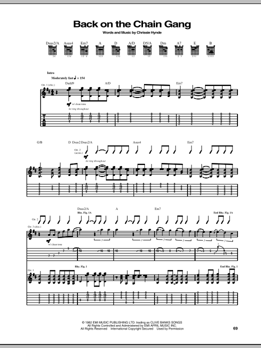 The Pretenders Back On The Chain Gang Sheet Music Notes Chords
