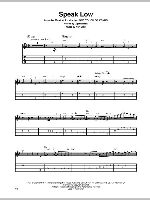 Kurt Weill Speak Low Sheet Music Notes Chords Printable Ballad