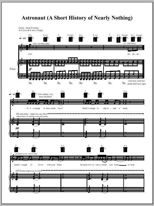 Amanda Palmer Astronaut Sheet Music Notes Chords Printable Punk