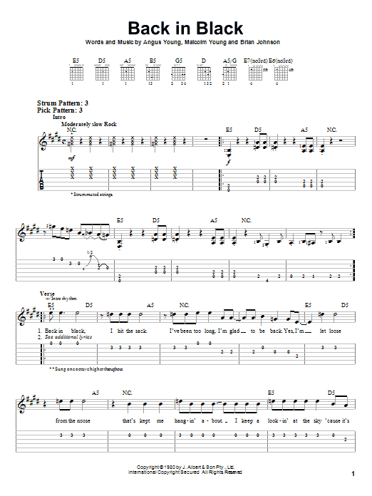 Acdc Back In Black Sheet Music Notes Chords Printable Pop Easy