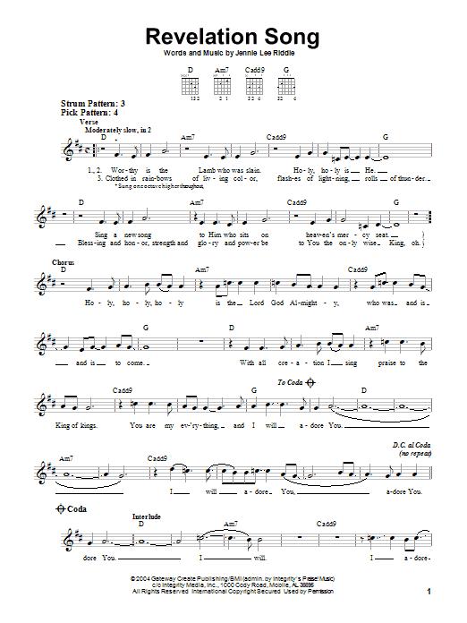 Gateway Worship Revelation Song Sheet Music Notes Chords