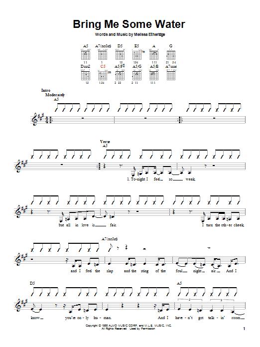 Melissa Etheridge Bring Me Some Water Sheet Music Notes Chords