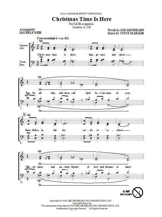 preview music notes - Christmas Time Is Here Song