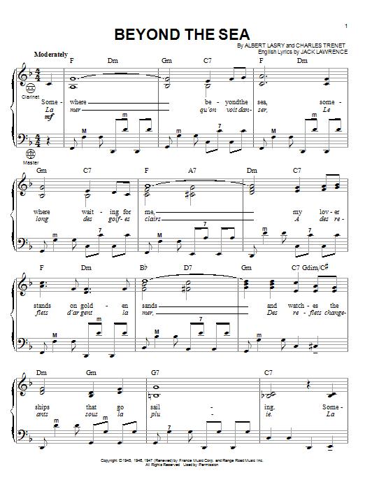 Bobby Darin Beyond The Sea Sheet Music Notes Chords Printable
