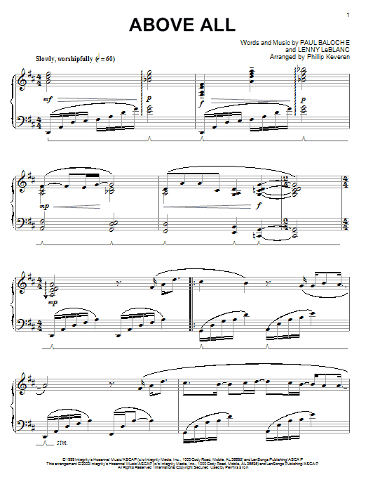 Paul Baloche Above All Sheet Music Notes Chords Printable Pop