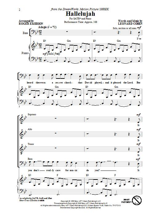 Leonard Cohen Hallelujah Arr Roger Emerson Sheet Music Notes