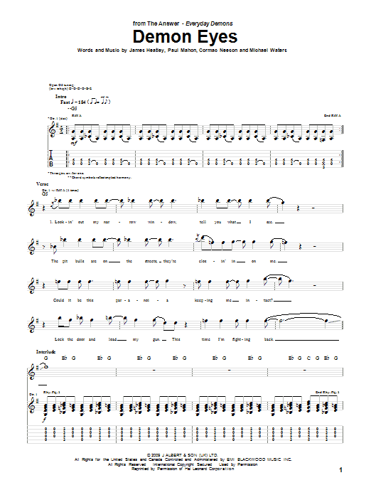 The Answer Demon Eyes Sheet Music Notes Chords Printable Pop