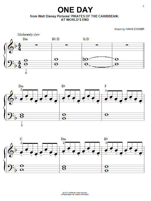 Hans Zimmer One Day Sheet Music Notes Chords Printable Film And