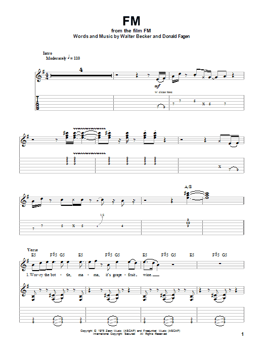 Steely Dan Fm Sheet Music Notes Chords Printable Rock Guitar