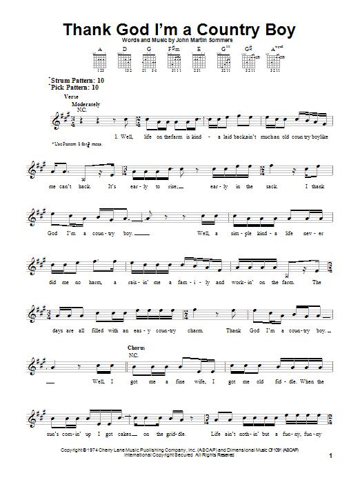 John Denver Thank God Im A Country Boy Sheet Music Notes Chords