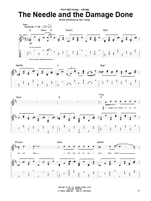 Neil Young The Needle And The Damage Done Sheet Music Notes