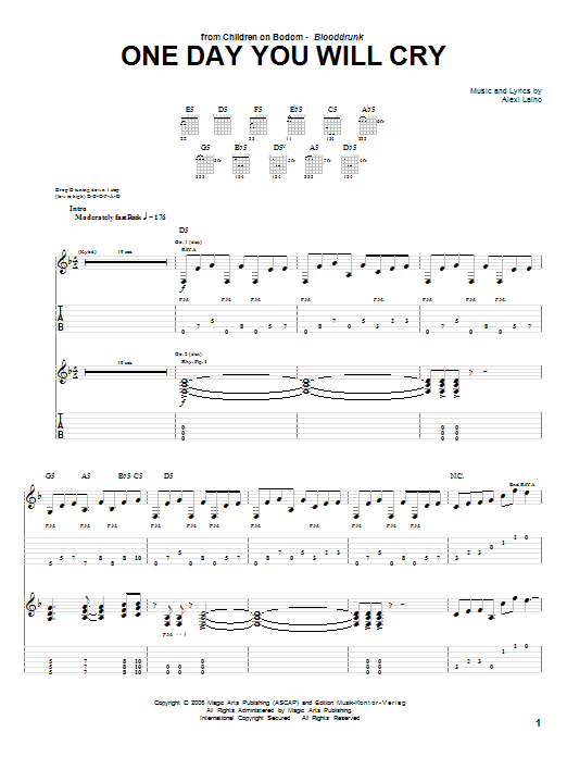 Children Of Bodom One Day You Will Cry Sheet Music Notes Chords