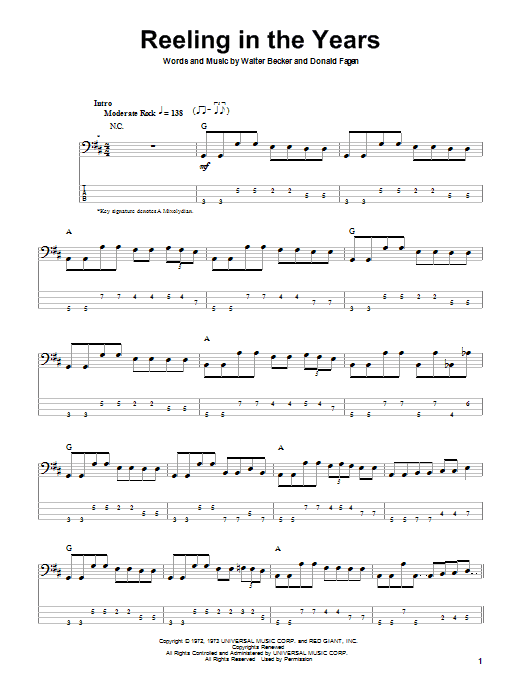 Steely Dan Reeling In The Years Sheet Music Notes Chords