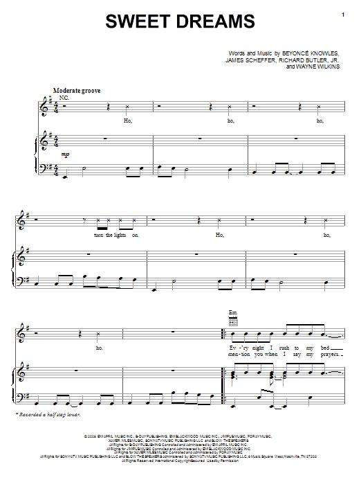 Beyonc Sweet Dreams Sheet Music Notes Chords Printable Pop