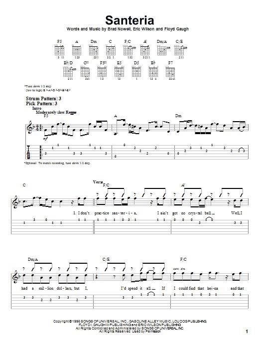 Sublime Santeria Sheet Music Notes Chords Printable Rock Easy