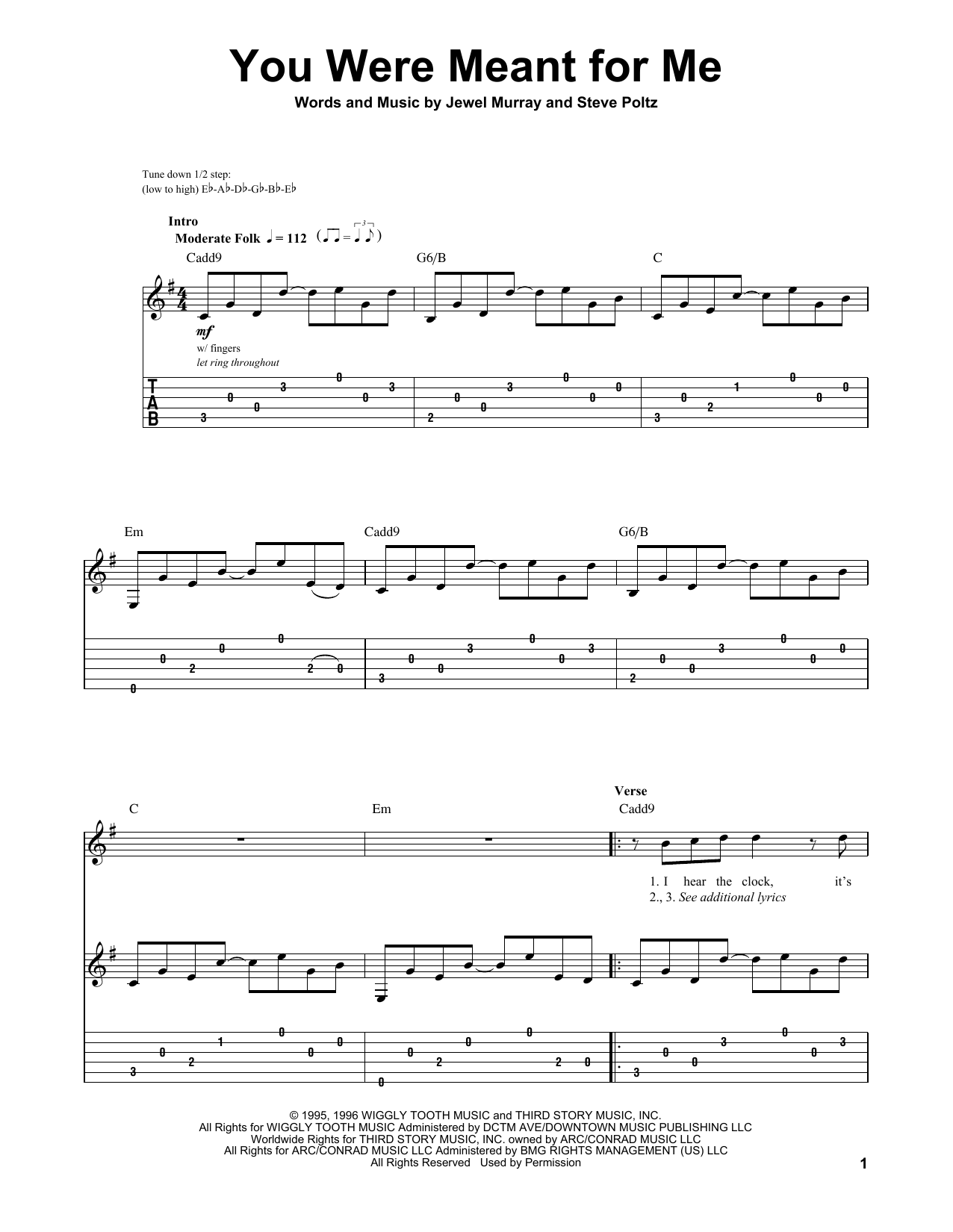 Jewel You Were Meant For Me Sheet Music Notes Chords Printable