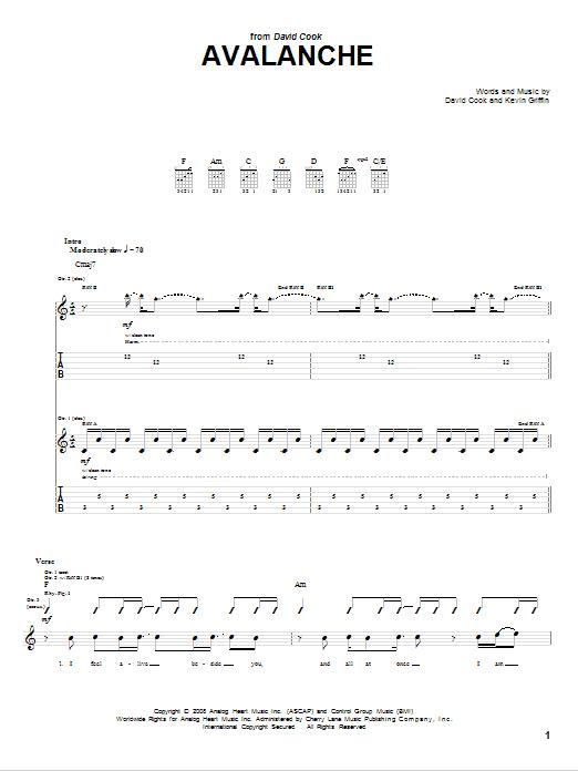 David Cook Avalanche Sheet Music Notes Chords Printable Rock