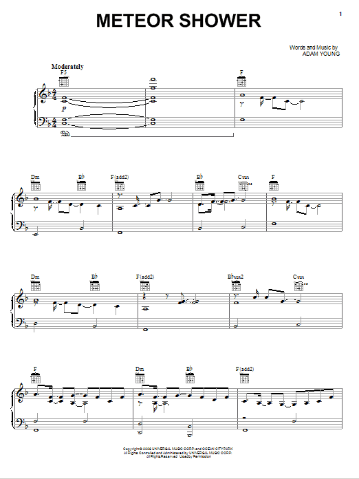 Owl City Meteor Shower Sheet Music Notes Chords Printable Rock