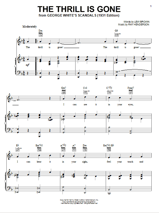 Lew Brown The Thrill Is Gone Sheet Music Notes Chords Printable