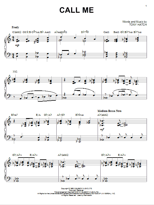 Tony Hatch Call Me Sheet Music Notes Chords Printable Jazz