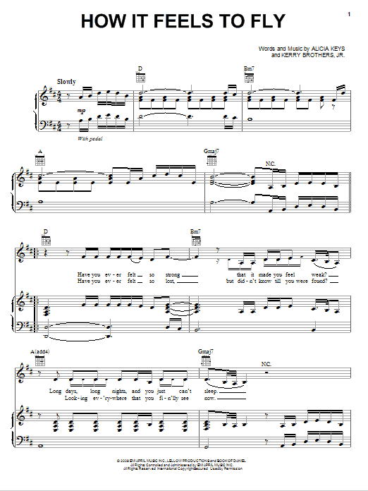 Alicia Keys How It Feels To Fly Sheet Music Notes Chords
