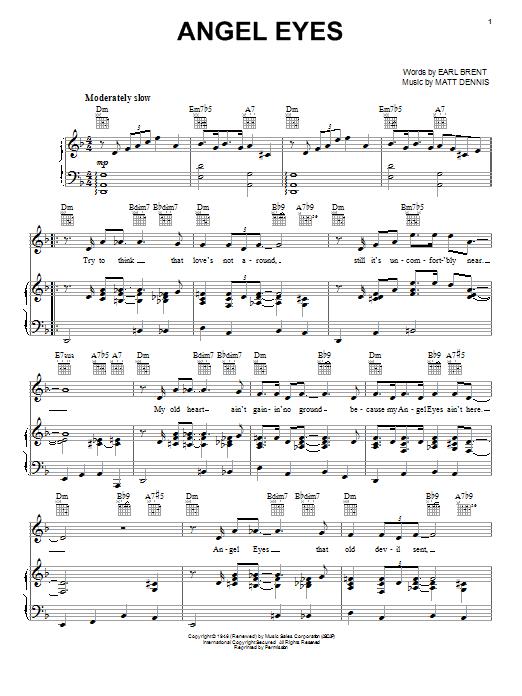 Frank Sinatra Angel Eyes Sheet Music Notes Chords Printable