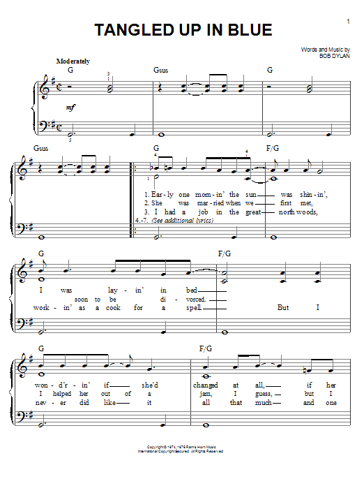 graphic regarding Christmas Songs Piano Sheet Music Free Printable titled Bob Dylan Tangled Up Inside Blue Sheet Tunes Notes, Chords Down load Printable Basic Piano - SKU: 74330