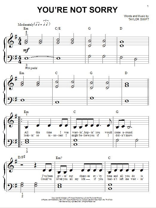 Taylor Swift Youre Not Sorry Sheet Music Notes Chords