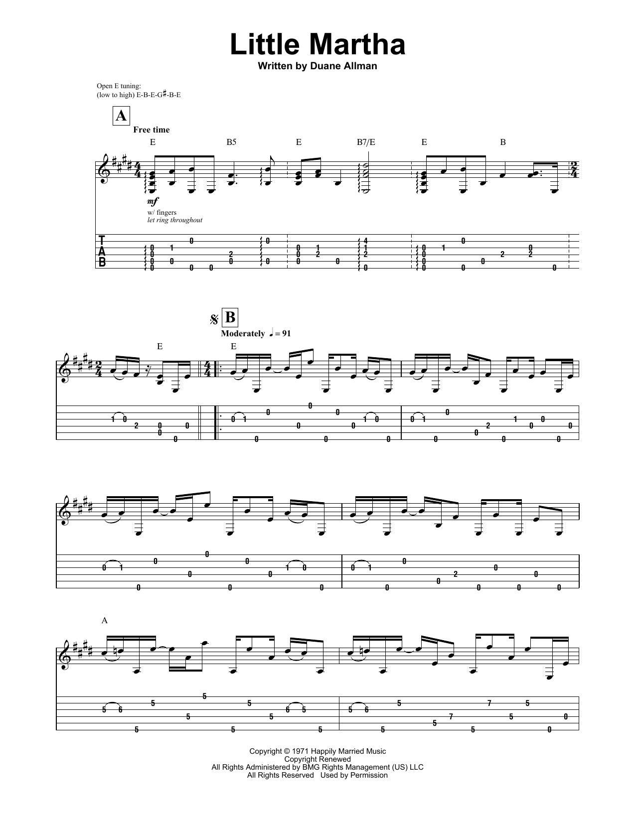 Allman Brothers Band Little Martha Sheet Music Notes Chords